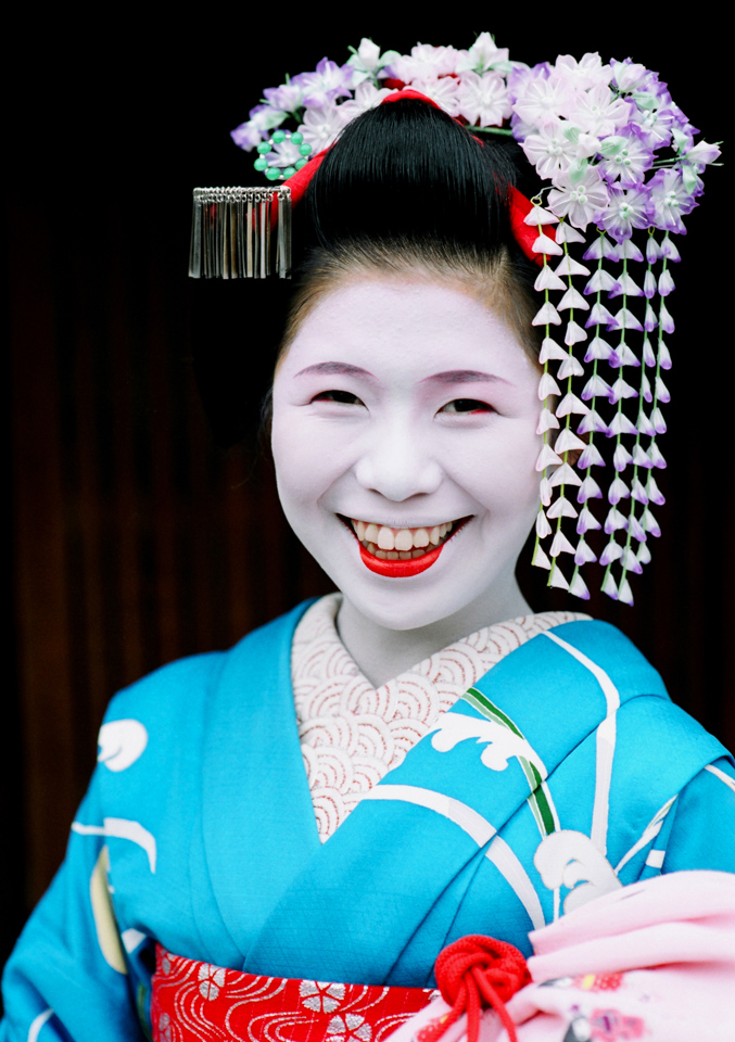 The maiko Yukako of Gion Kobu a few months after her debut as an apprentice geisha