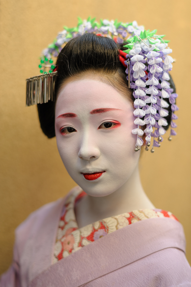 A portrait of the maiko Mamefuji of Gion in May