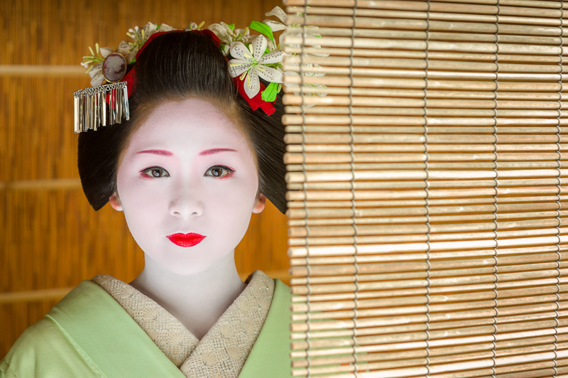 The maiko Mameharu of Gion Kobu on a summer afternoon in Kyoto