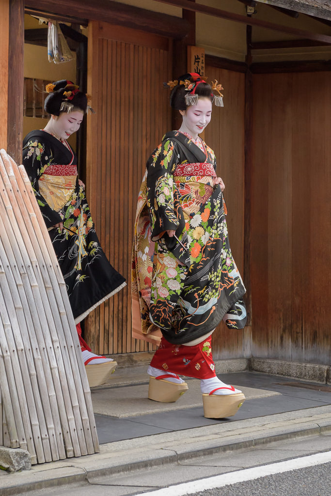New Maiko Tatsuha and Yuriha greet the Gion Kobu community on the day of their debut