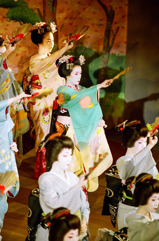 The maiko Fukuhina and other geiko and maiko perform the dance Miyagawa Ondo