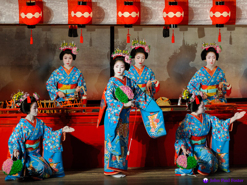 "Geisha and maiko perform in the first scene of the 2012 Miyako Odori, ""Prelude."""