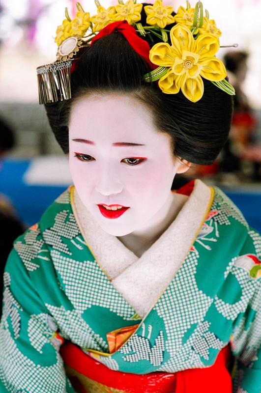 The maiko Katsuya at Baikasai at Kitano Tenmangu Shrine in Kyoto in 2005