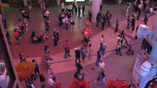the Fremont Street Experience in Las Vegas consists of ten minute long music videos shown on a canopy and attracts a large crowd of tourists every evening. (image and text courtesy the artist and Lauranapier.com) See the video  here