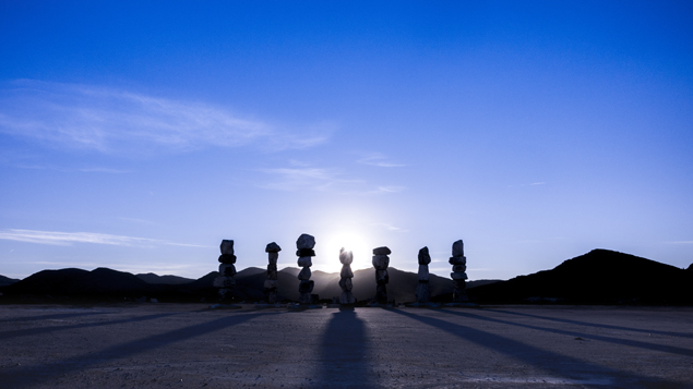 Gianfranco Gorgoni, Seven Magic Mountains during Fabrication, 2015, Apex Quarry, Nevada