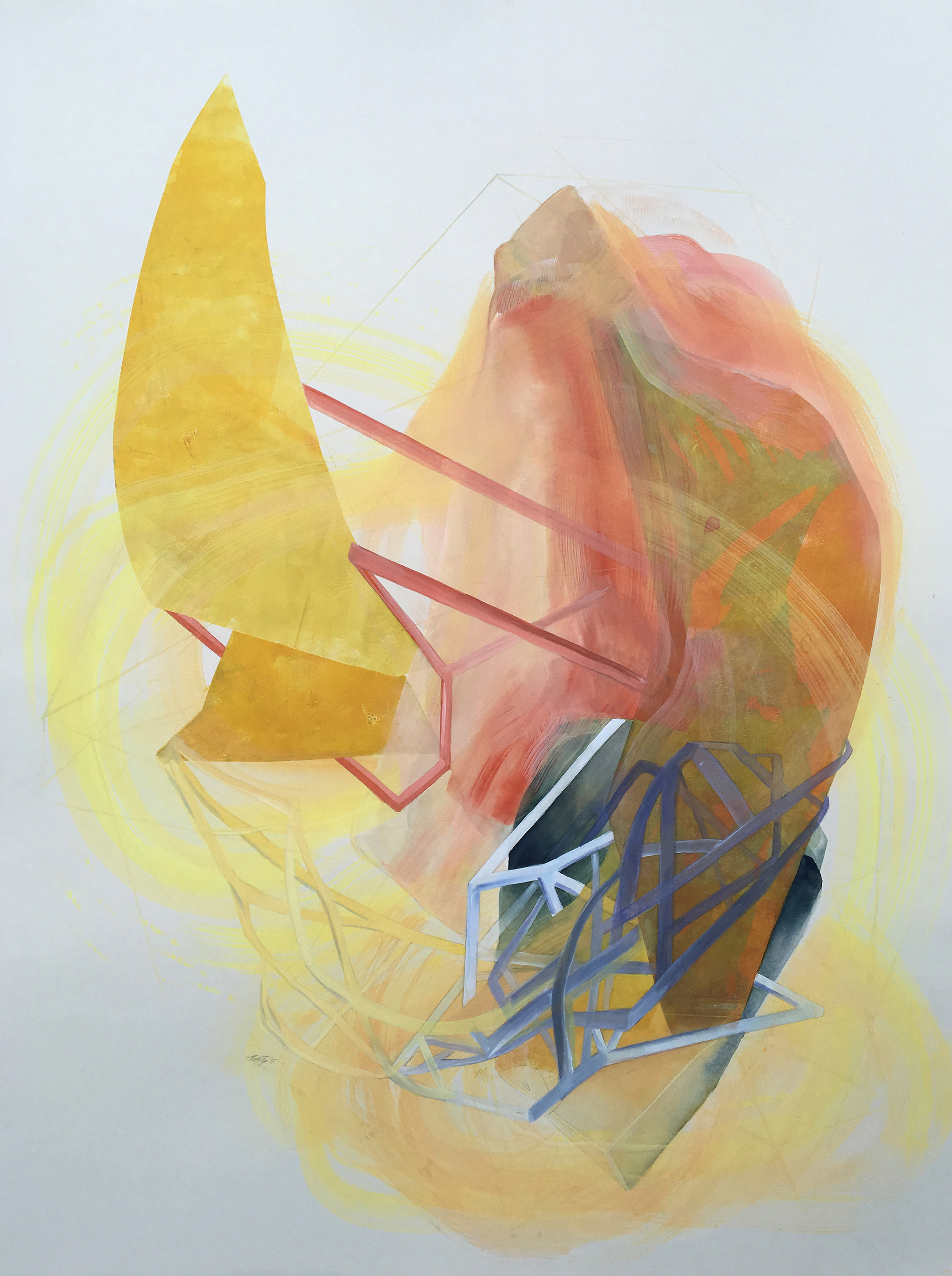 "Rossitza Todorova, ""My Beating Heart,"" mono-print, gouache, colored pencil on gray paper (image courtesy the artist)"