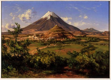 Jose Maria Velasco, Popocatepetl e Iztaccihuatl vistos desde Atlixco, oil on canvas. 1877