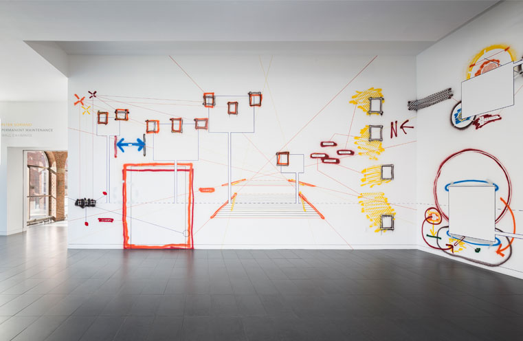 view of Peter Soriano's Permanent Maintenance, at Colby College Museum of Art. Image courtesy Colby College.