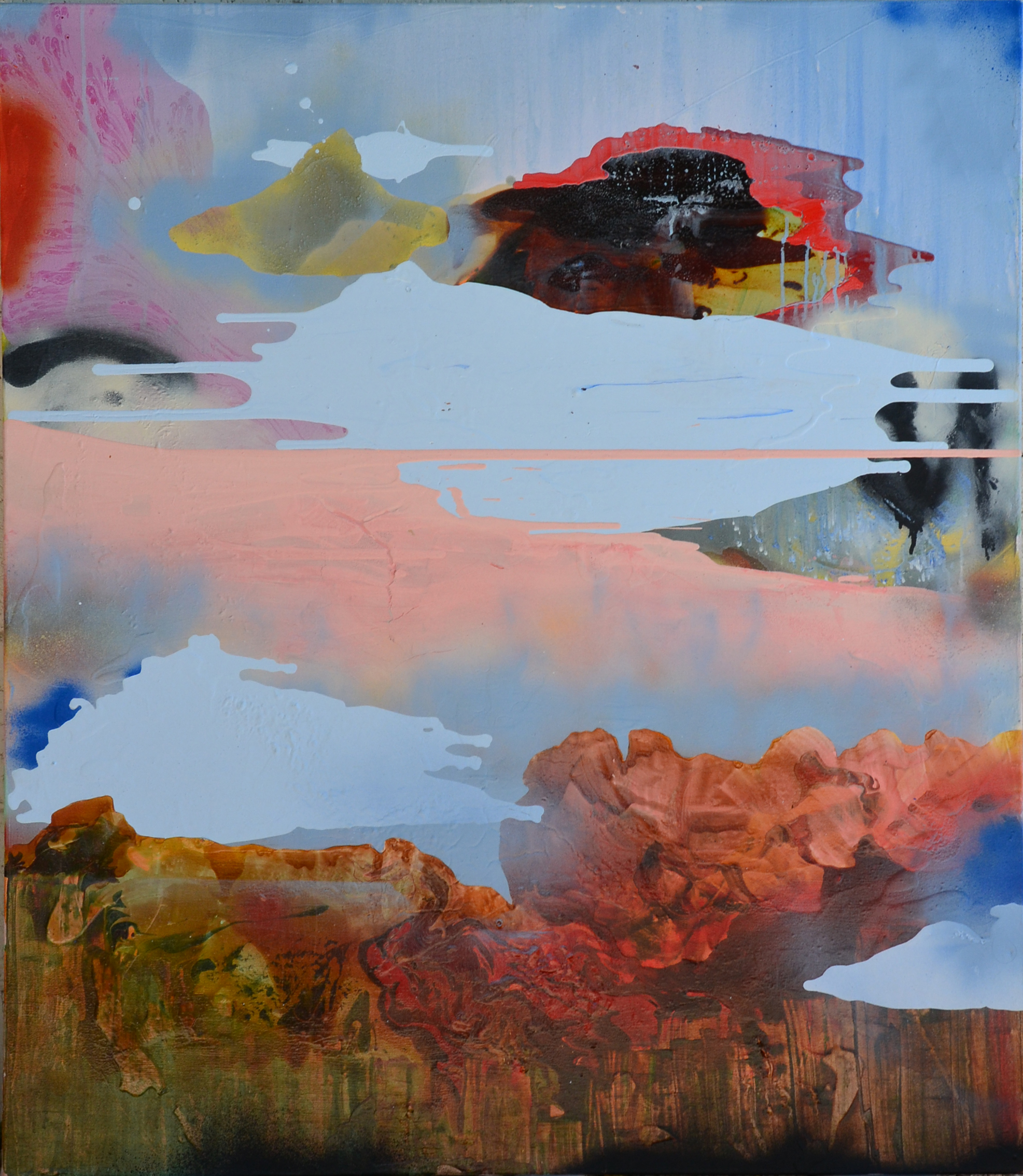 Rachel Stiff, What's Up with the Sky? mixed media, 50″ x 44″ 2014. (Image courtesy the artist and Nevada Museum of Art)