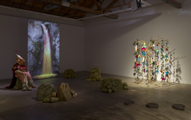 Marnie Weber, installation view, Chapel of the Moon, at GAVLAK in Los Angles.