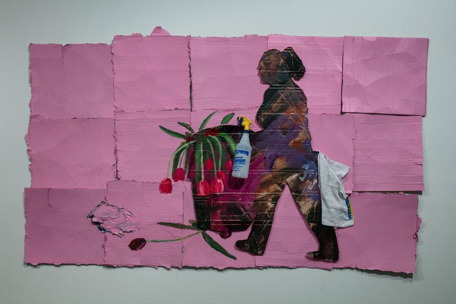 Ramiro Gomez, Lupita , 2017. Acrylic paint and plastic spray bottle on cardboard, 49 x 83 in. © Ramiro Gomez