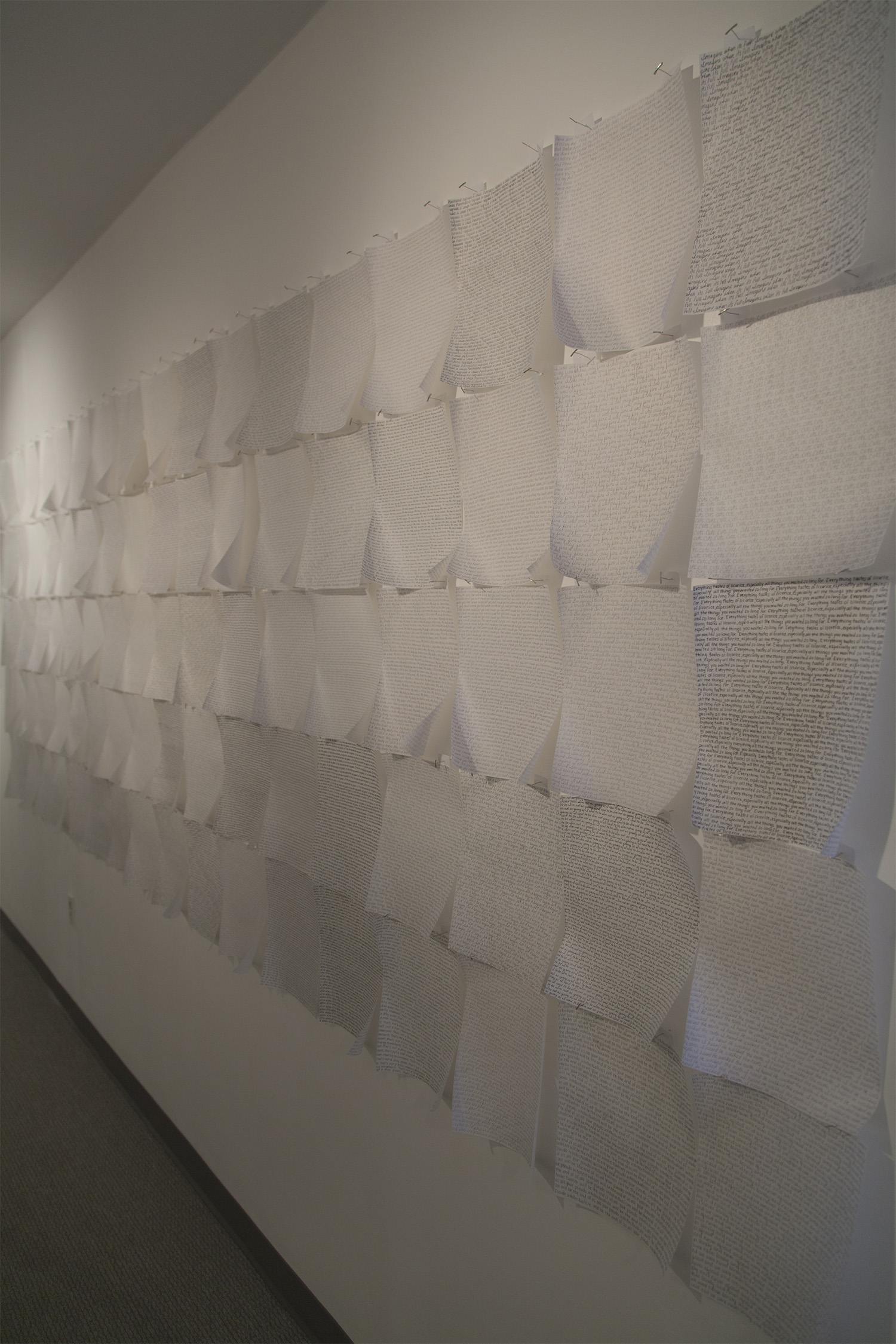 Krystal Ramirez Untitled 2013, onion skin, typewriting paper, ink, pencil, 10′ x 5′. From the I'm Sorry We Lied exhibition.