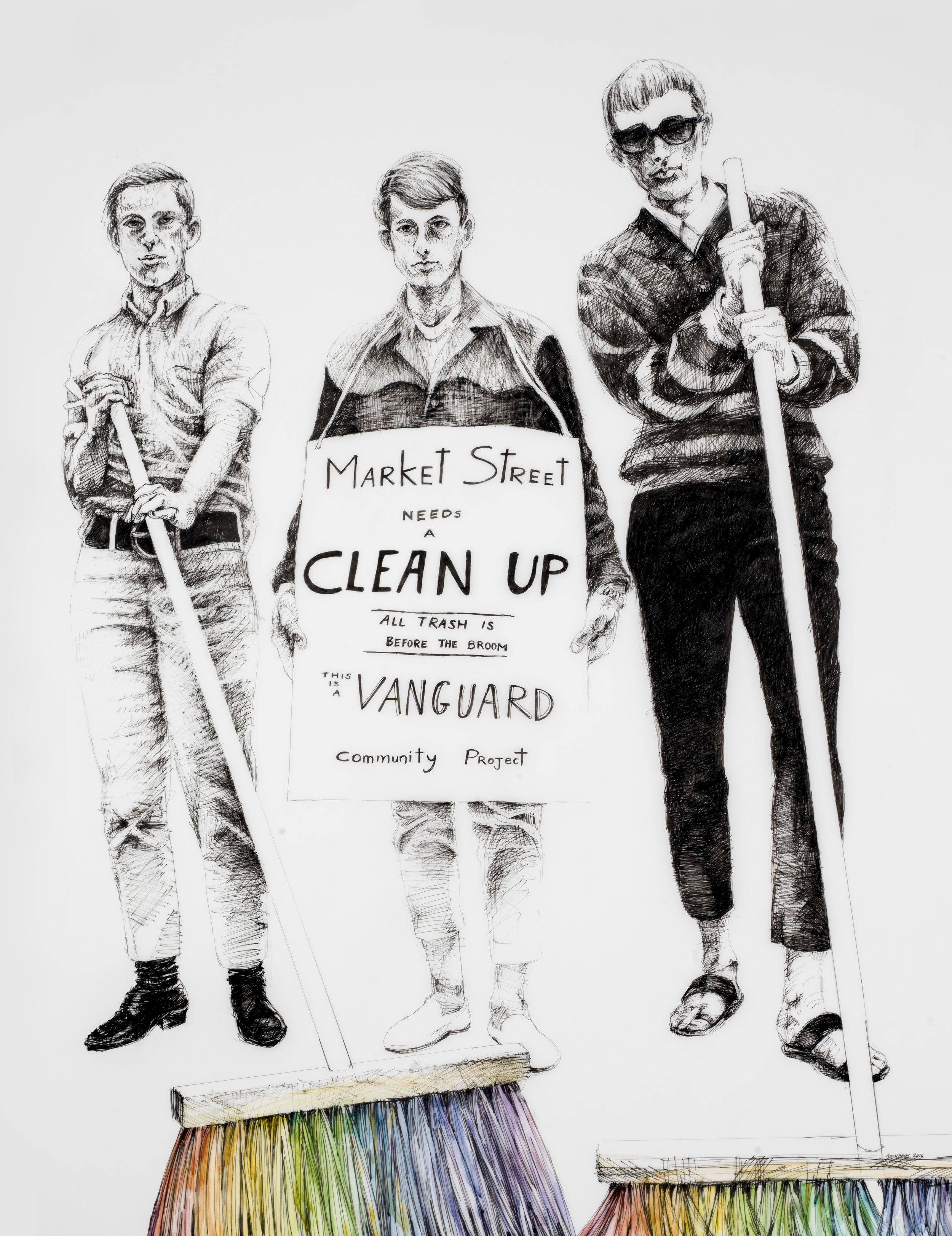 """Deborah Aschheim, Vanguard Street Sweep , 2017. Gay and transgender youth in San Francisco's Tenderloin formed Vanguard to protest discrimination and to support an emerging LGBT community. Vanguard's 1966 cleanup of Market Street made tongue-in-cheek reference to """"street sweeps"""" of homeless youth by police. """"People were beaten down by their environment, by being called names, by being told they were worthless, by families that threw them out. I started Vanguard as an opportunity where people could stand their ground.""""- Vanguard Co-Founder Adrian Ravarour.Image courtesy the artist and the San Francisco Arts Commission's Art on Market Street Program."""