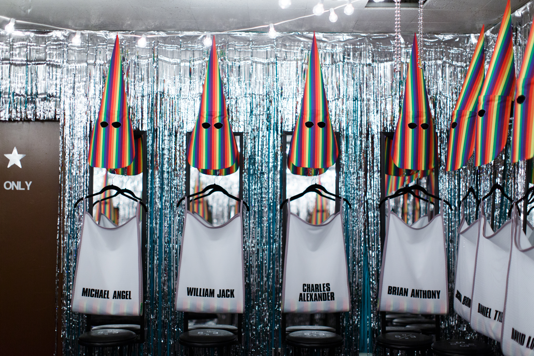 Jeffrey Augustine Songco, Society of 23's Locker Dressing Room, 2017. Mixed-media installation. Exhibited at the City Water Building by Richard App Gallery in Grand Rapids, Michigan as part of ArtPrize Nine.