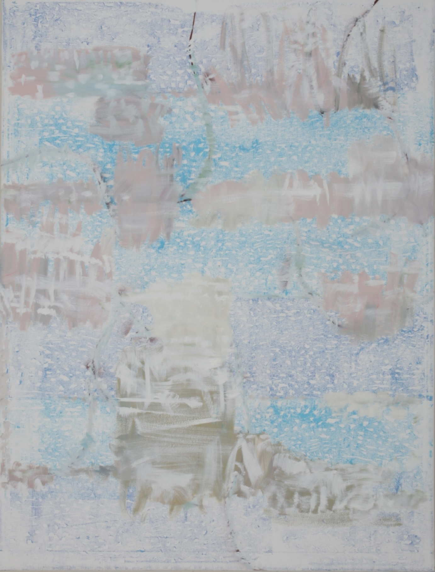 Daniel Habegger   oil and woodcut print traces on canvas   2013