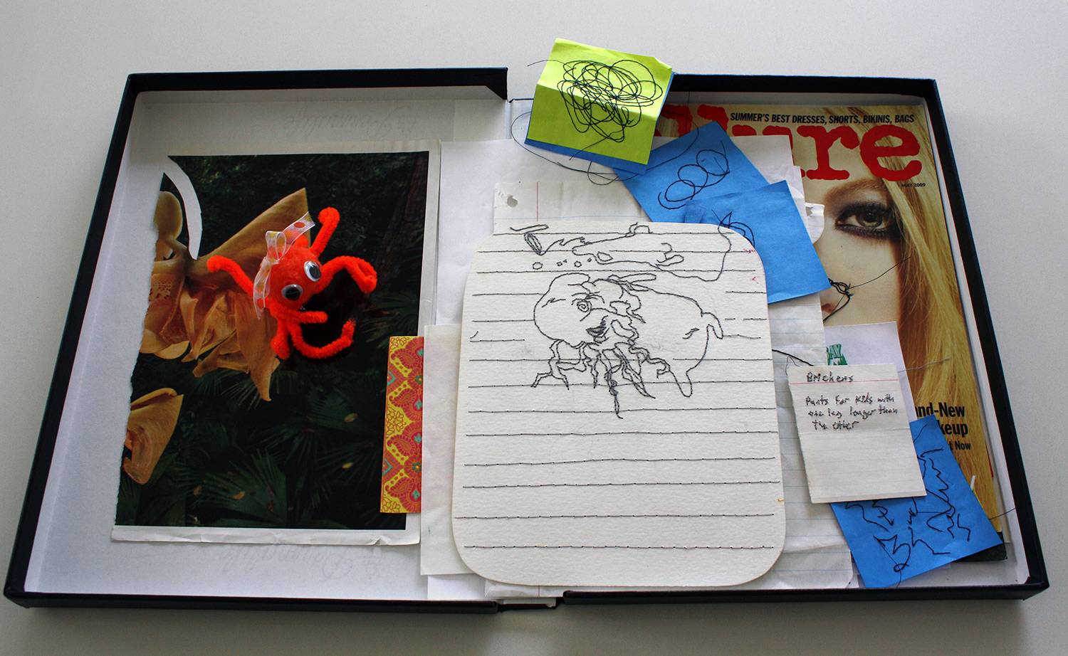 """Marc Dombrosky,   Case 3 / Untitled (You Most Likely Can do it. Good Luck)   2017, 27 elements: twenty-one (21) hand-embroidered found papers, octopus pin, raffle tickets, found magazine clippings;case is a Century Archival Storage box measuring 12.375 x 9.375 x 1 inches, closed. From the series """"Self Awareness."""""""