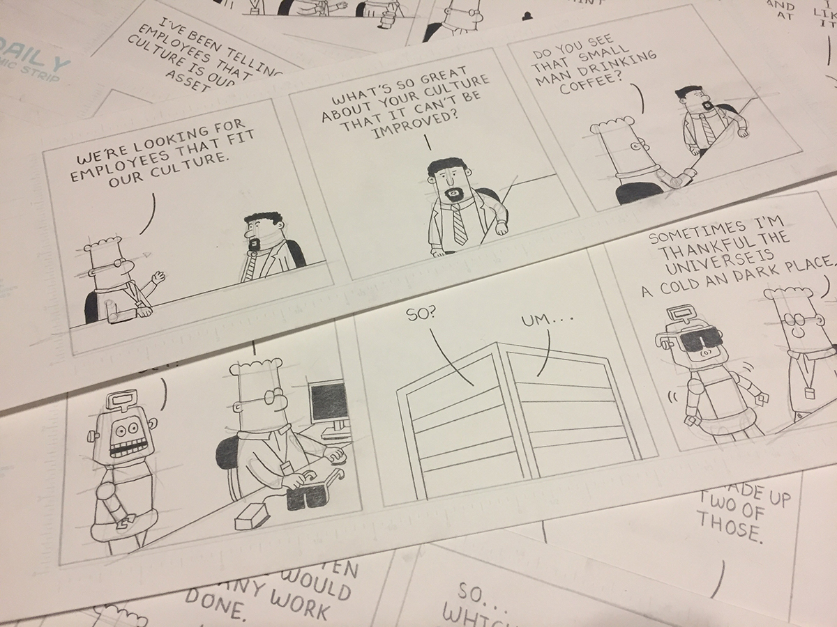 Sean Slattery, detail,  86 Pencil Drawings for Dilbert by Scott Adams,  graphite on paper, 2017-18