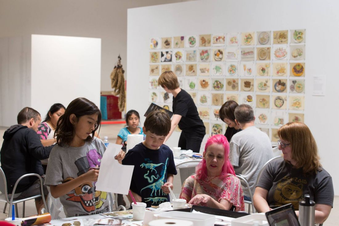 Las Vegas artist  JK Russ  leads a Community Days collage workshop during  Tilting the Basin  in downtown Las Vegas, 2017. Image Nevada Museum of Art.