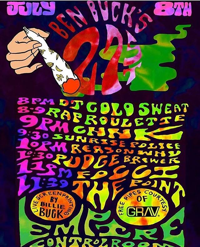 SUNDAY, JULY 8TH: @filthymcnasty88 21st bday party at @empireatx! 👅💦🎂🌈 @djcoldsweat #raproulette @chhk512 showcase, @sunrise_police @the.point.music #pudgebrewer #FOCCI @reasonwhy & @yaboidroid 🍌💨 free pipes courtesy of @gravglass ✨ @billiebuckposters live screen printing!