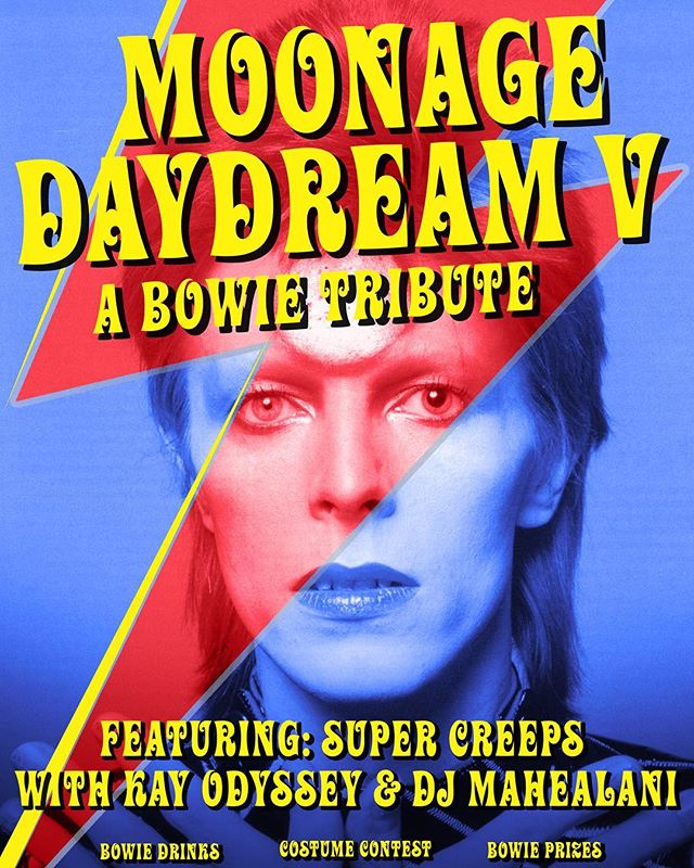 On Sale Now 👽✨🌈 Tickets for Moonage Day Dream 5 at @EmpireATX on Sept 14 are now available at the link in bio! Costume contests! Bowie Prizes! Bowie Drinks! Bowie Sounds! Stoked to have Super Creeps w/ @kayodyssey & @djmahealani on the bill!