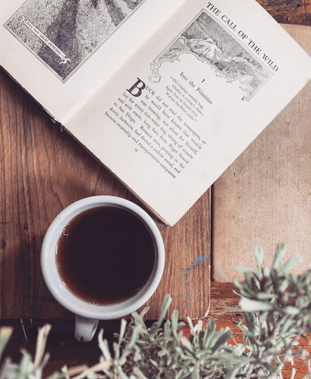 Saturday mood: peaceful morning plus the strongest possible cup of black tea🍃 . . . . #weekend #weekendvibes #saturdaymorning #teaandbooks #teatime #thesteepingleaf #sage #callofthewild