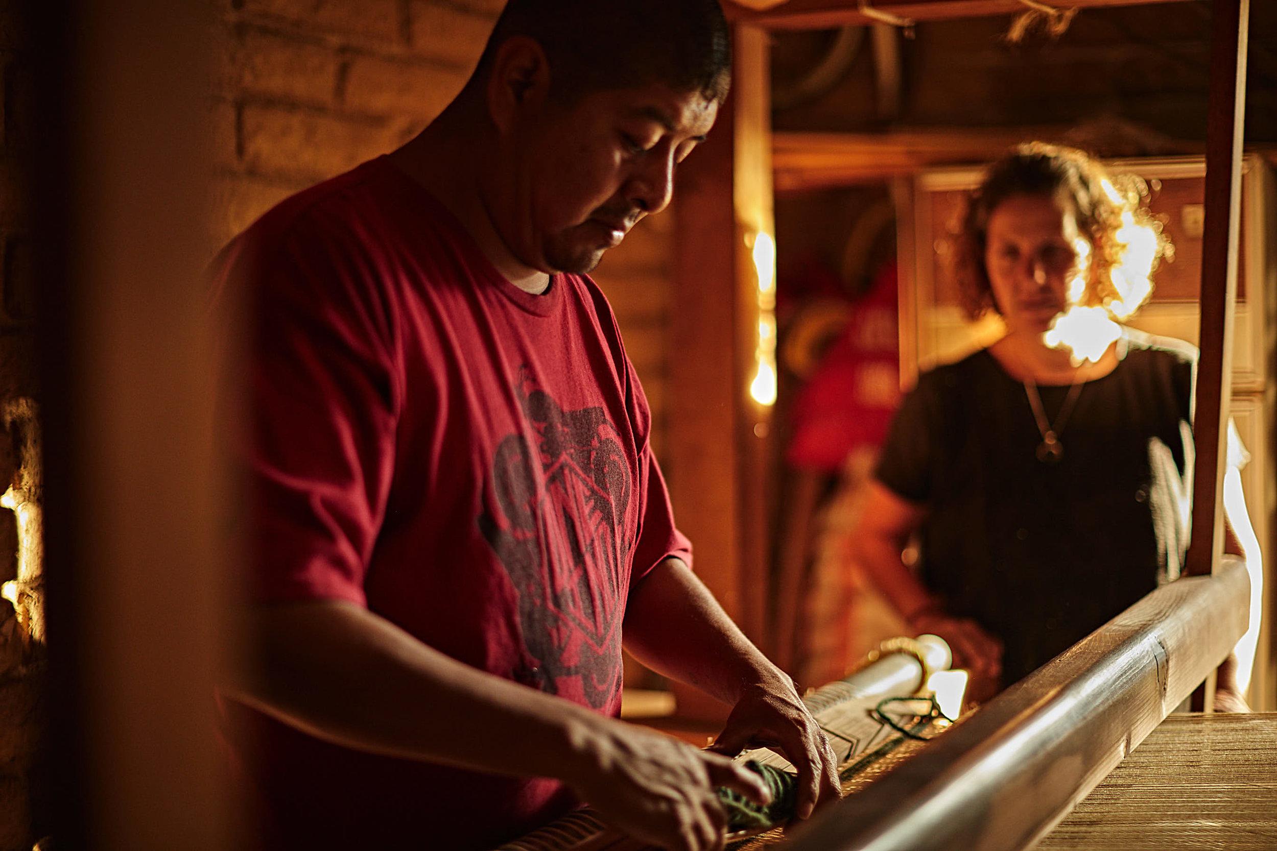 Madda Studio Loom Weaving Custom Wool Rugs in Mexico