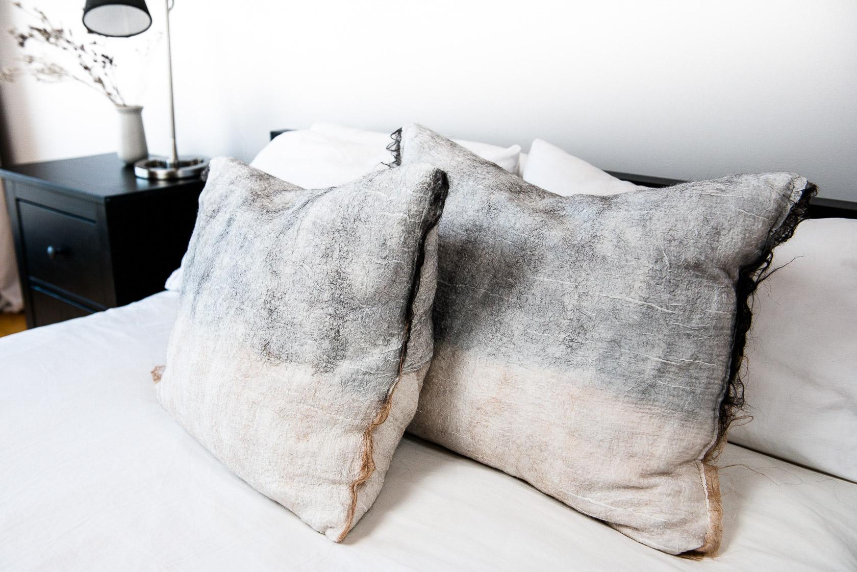 Madda Studio Nuno felting Process for Pillows in Mexico