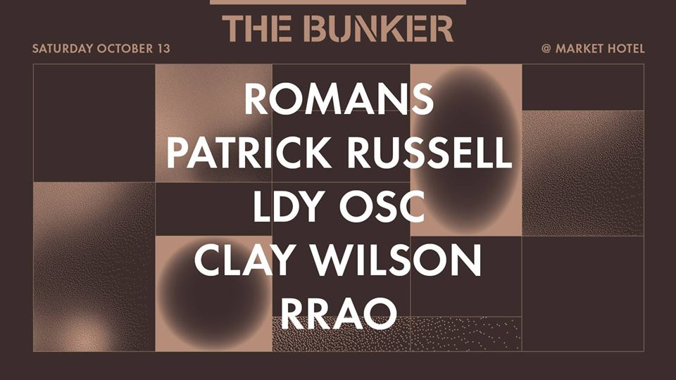 """THE BUNKER   Romans (aka TIN MAN & Gunnar Haslam ) LIVE  Patrick Russell (The Bunker New York, I.T.)  LDY OSC (The Bunker New York) LIVE - EP release party  Clay Wilson (The Bunker New York) - EP release party  rrao (The Bunker New York)  sound by subBASS Sound System   tickets:  https://www.residentadvisor.net/events/1162139    The Bunker returns to our beloved MARKET HOTEL , which is now operating with a full liquor license.  On this particular night we are celebrating the release of two new EPs on The Bunker New York in October, LDY OSC's """"Magic² of 8"""" and CLAY WILSON's """"Law of Seven"""". LDY OSC's powerful debut EP takes inspiration from Liaisons Dangereuses as much as it does from Sähkö Recordings and Mayan Cosmology. Clay Wilson's 4th EP for The Bunker NY comprises a meditative and ecstatic homage to deep listening techno with mystical overtones. LDY OSC will be treating us to the debut live performance of her new material and Clay will be playing a prime time DJ set.  The rest of the lineup is made up of label artists from The Bunker New York family. ROMANS, the duo of TIN MAN and GUNNAR HASLAM, present their unique take on psychedelic techno, taking us on an acid-etched trip to the outer reaches of the mind with a rare live set. Opening the night is RRAO, whose impressive contribution to our 15 Years of The Bunker compilation and remix of Clay Wilson earlier this year have been in frequent rotation at The Bunker and beyond. And closing the night as only he can is our resident DJ, PATRICK RUSSELL."""