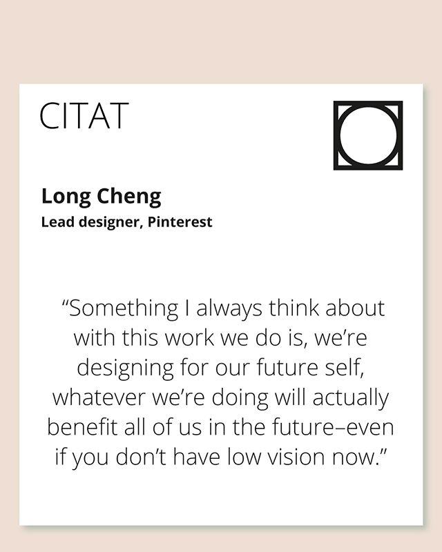Gillar det här citatet skarpt! Att alltid tänka på att vi designar för vårt framtida jag💁♀️Pinterest har uppdaterat sin app så att den ska vara inkluderande för alla när det kommer till syn. Den har VoiceOver så du kan lyssna på ett recept t.ex. och användargränssnittet har fått högre kontrast🎨