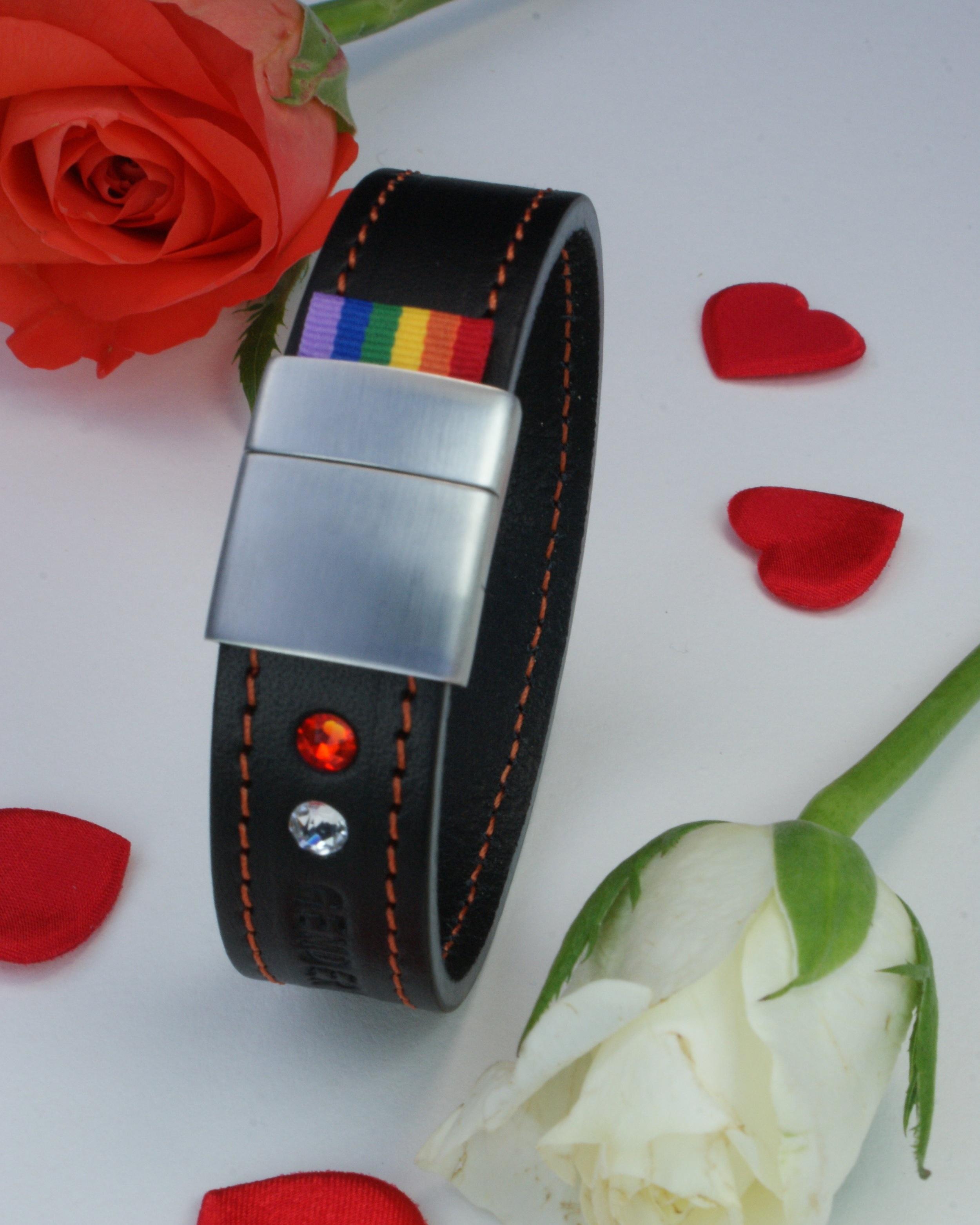 GENDERTAG Black Stitched Leather Pride Bracelet LGBTQ+ Jewellery
