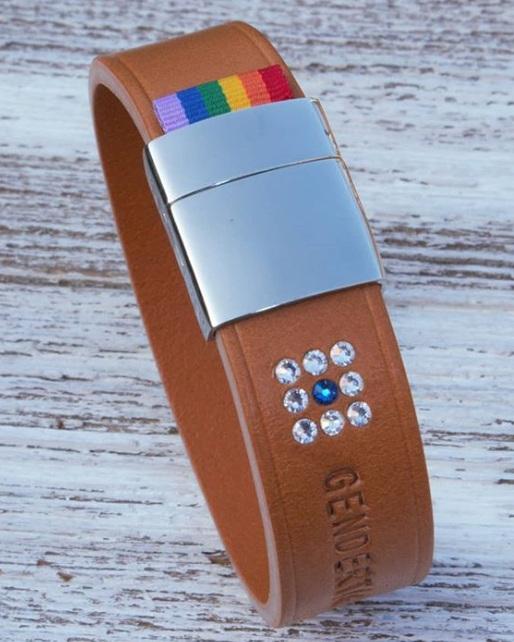 GENDERTAG Tan Leather Pride Matrix Bracelet