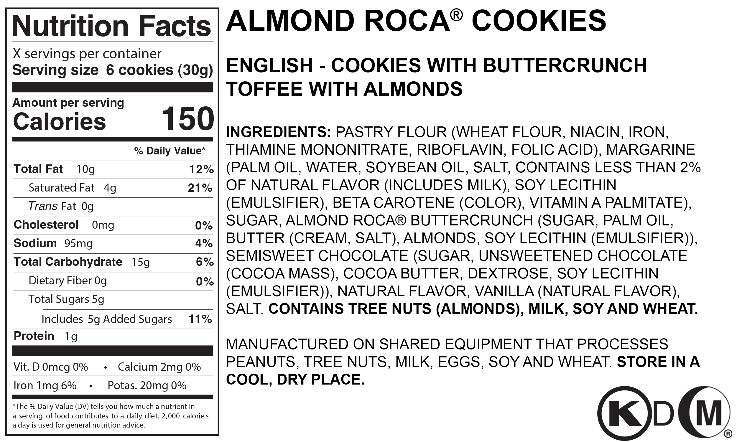 Almond ROCA® Cookies - Serving SIze 6 Cookies