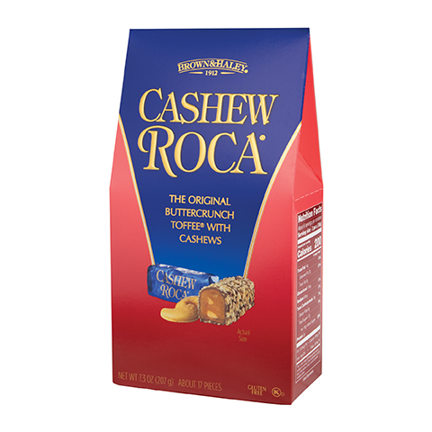 0391 7.3 oz Cashew ROCA® Stand-up Box - Left-facing View