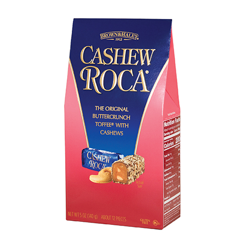 0582 5 oz Cashew ROCA® Stand-up Box - Left-facing View