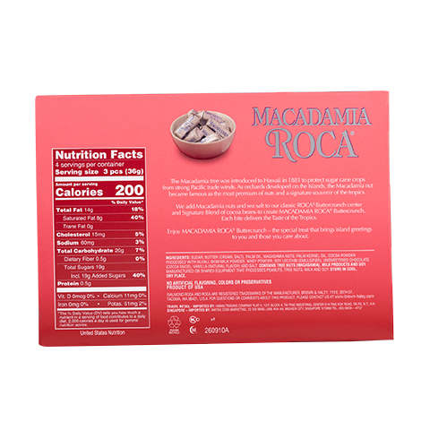 0602 4.9 oz MACADAMIA ROCA® Gift Box - Back-side View
