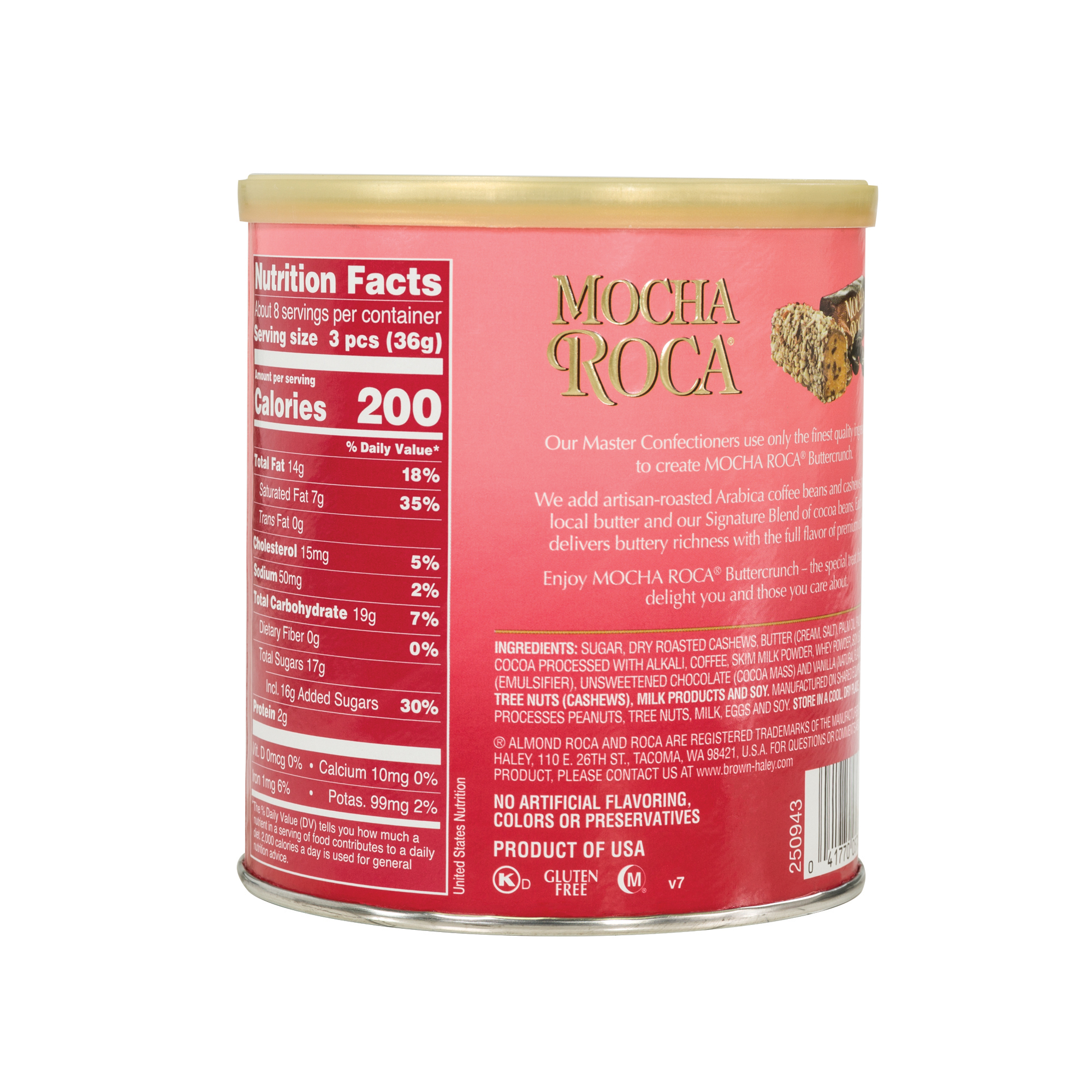 0567 10 oz MOCHA ROCA®Canister - Back-side View