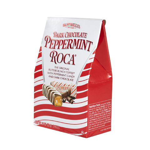 5968 .84 oz DARK CHOCOLATE PEPPERMINT ROCA® Mini Stand-up Box - Left-facing View