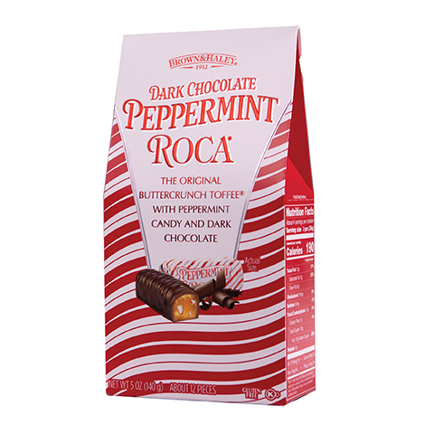 5943 5 oz DARK CHOCOLATE PEPPERMINT ROCA® - Left-facing View