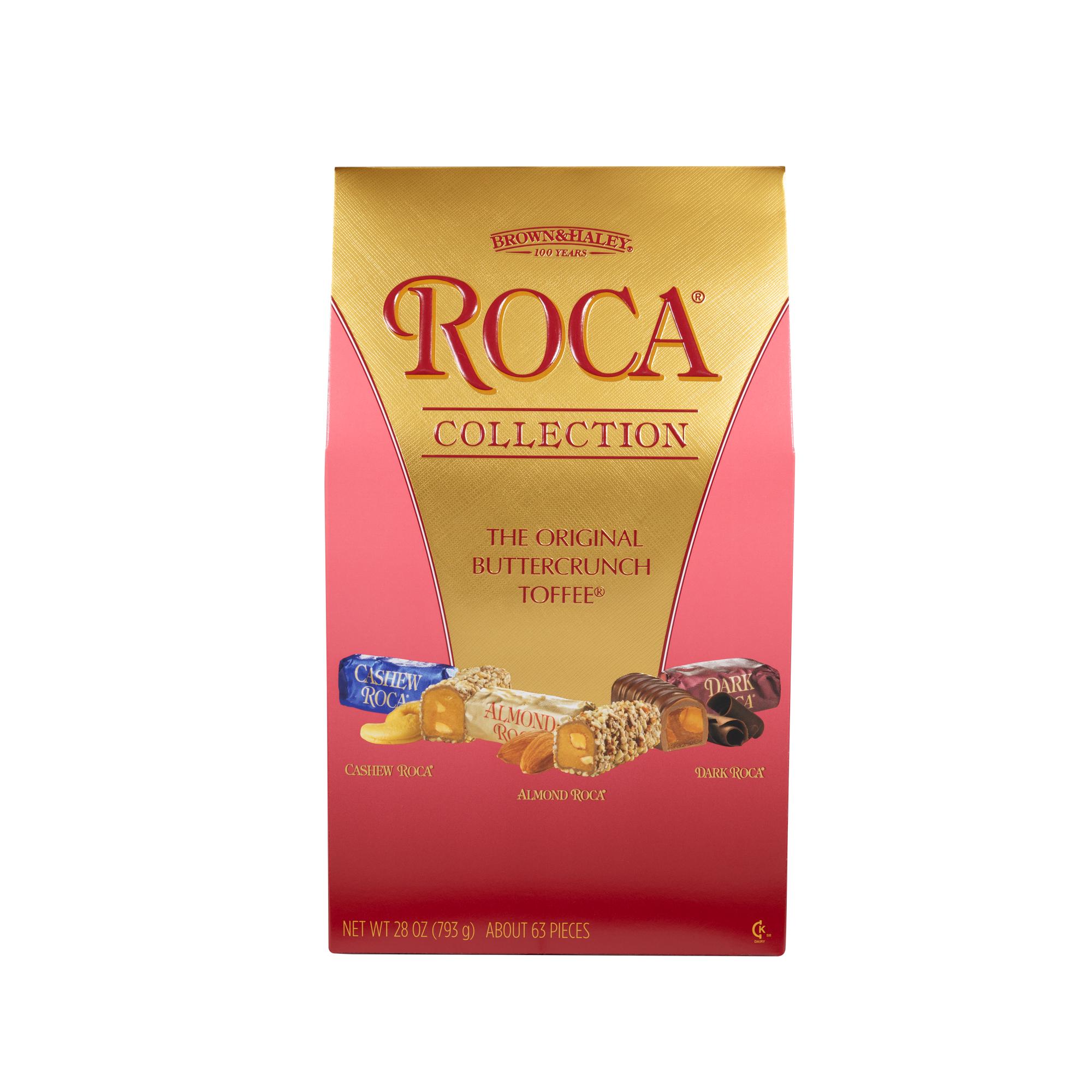 0378 28 oz ASSORTED STAND-UP BOX: CASHEW ROCA®, ALMOND ROCA ® & DARK ROCA® - Straight-front View