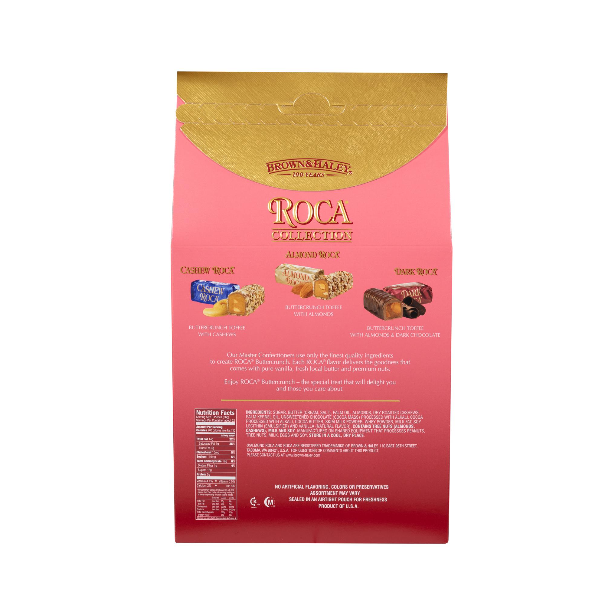 0378 28 oz ASSORTED STAND-UP BOX: CASHEW ROCA®, ALMOND ROCA ® & DARK ROCA® - Back-side View
