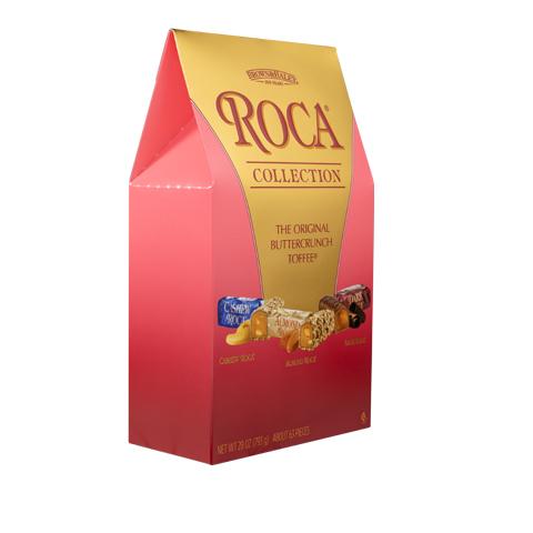 0378 28 oz ASSORTED STAND-UP BOX: CASHEW ROCA®, ALMOND ROCA ® & DARK ROCA® - Right-facing View