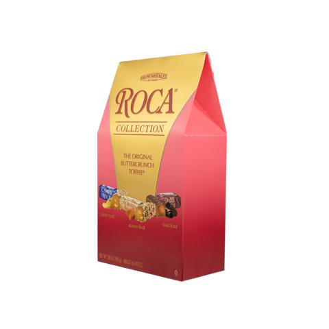 0378 28 oz ASSORTED STAND-UP BOX: CASHEW ROCA®, ALMOND ROCA ® & DARK ROCA® - Left-facing View