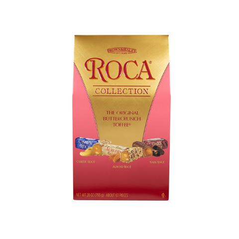 0670 28 oz Assorted Stand-up Box: SEA SALT CARAMEL ROCA®, ALMOND ROCA®, DARK ROCA - Straight-front View