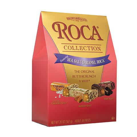 0698 20 oz Assorted Stand-up Box:SEA SALT CARAMEL ROCA®,ALMOND ROCA®,DARK ROCA® - Right-facing View