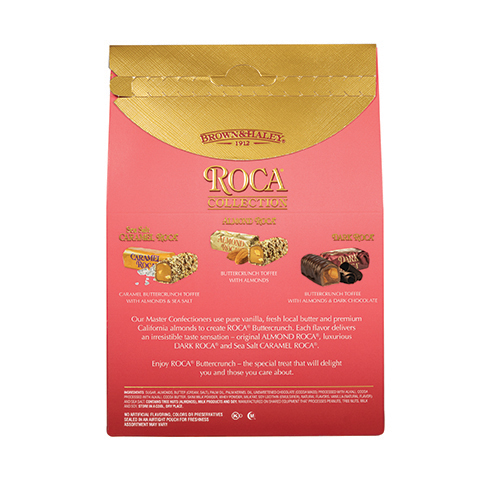 0698 20 oz Assorted Stand-up Box:SEA SALT CARAMEL ROCA®,ALMOND ROCA®,DARK ROCA® - Back-side View