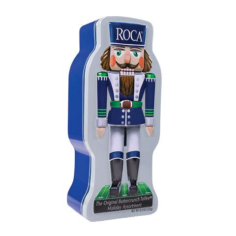 5862 11.3 oz Football Tin: Almond ROCA®, Dark ROCA® - Right-facing View