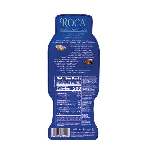 5862 11.3 oz Football Tin: Almond ROCA®, Dark ROCA® - Back-side View