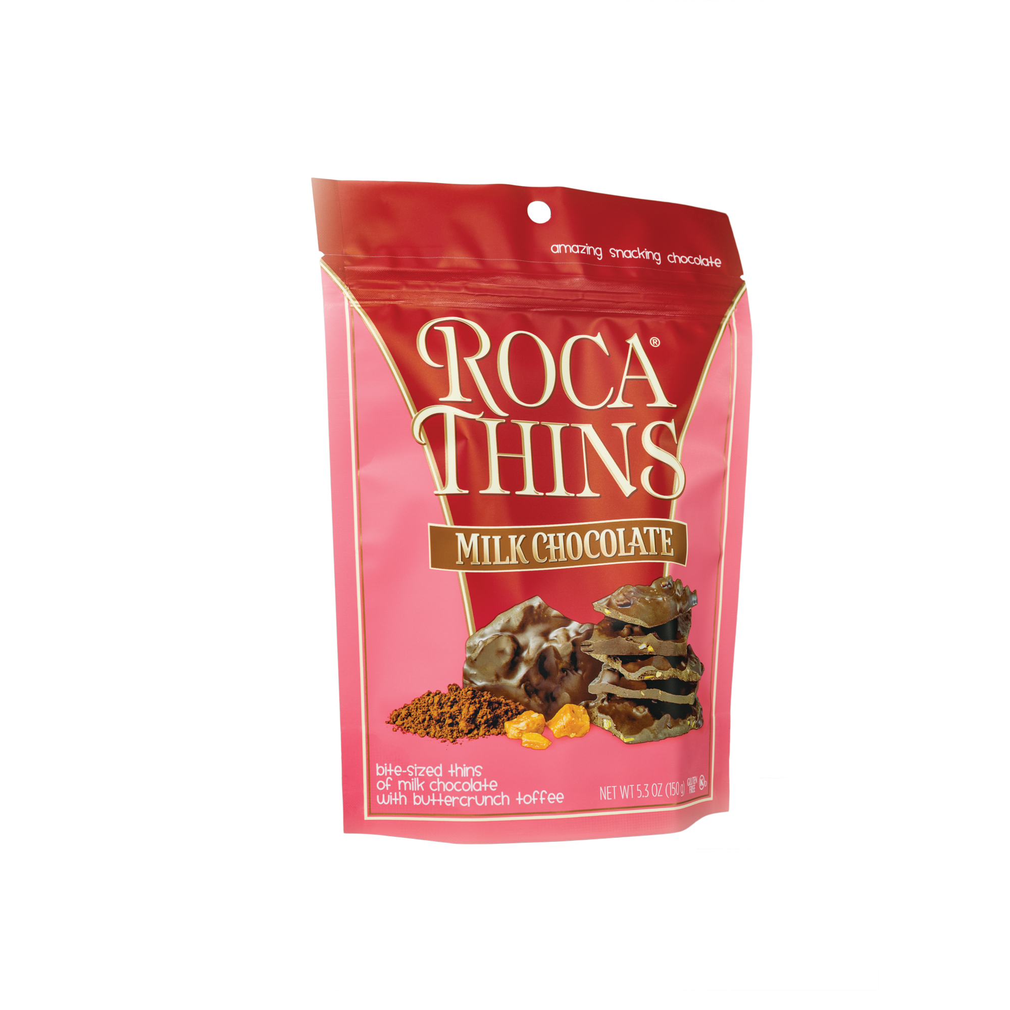 3311 5.3 oz Milk Chocolate ROCA® Thins Stand-up Pouch - Right-facing View