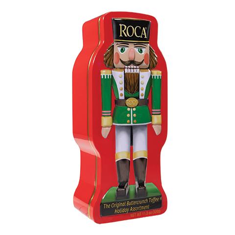 5945 11.3 oz Nutcracker Tin: Almond ROCA®, Dark ROCA® - Right-facing View