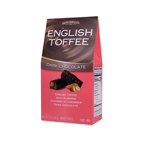 0372 7.3 oz English Toffee Stand-up Box - Left-facing View